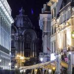 picture of cec palace and bucharest old city center at night