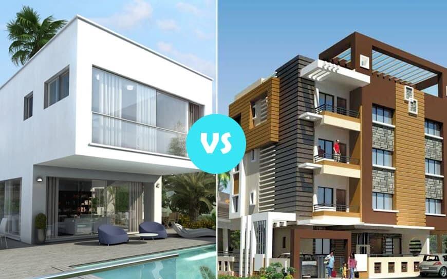 modern house vs modern apartment building