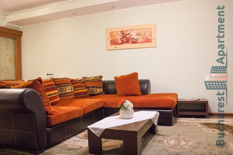 brown leather sofa with red pillows