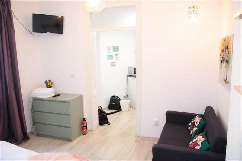 light room with closet and sofa