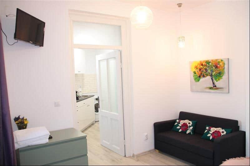 white studio apartment with dark sofa
