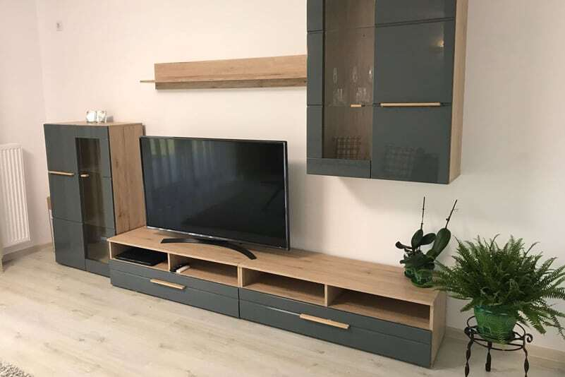 living room furniture with flat screen tv