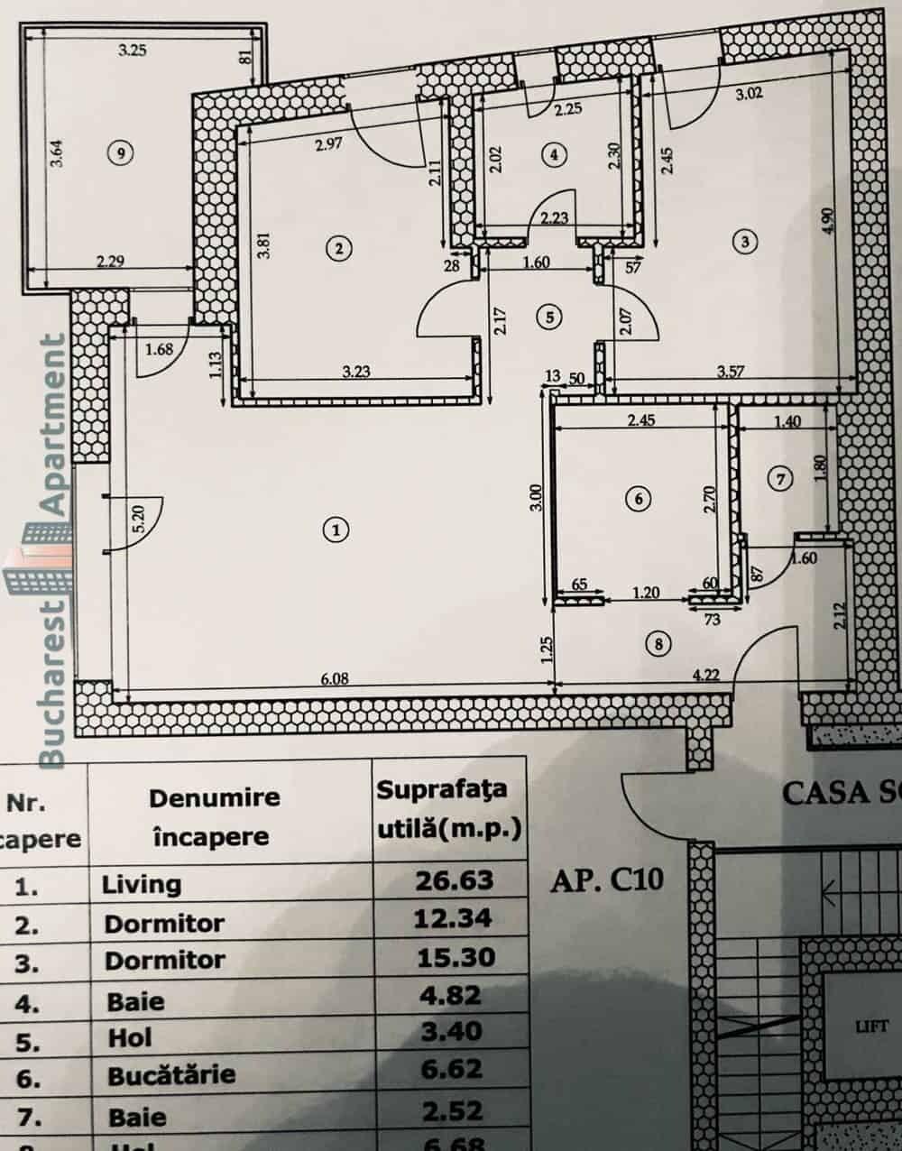 three rooms apartment plan