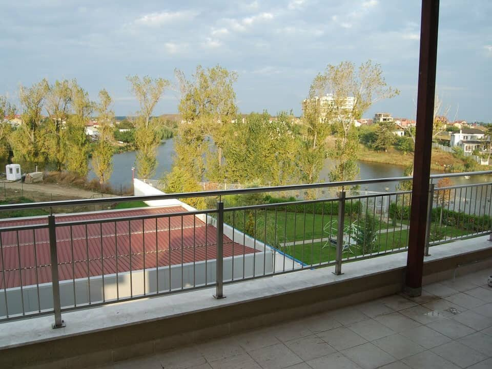 view to the lake from terrace at day time