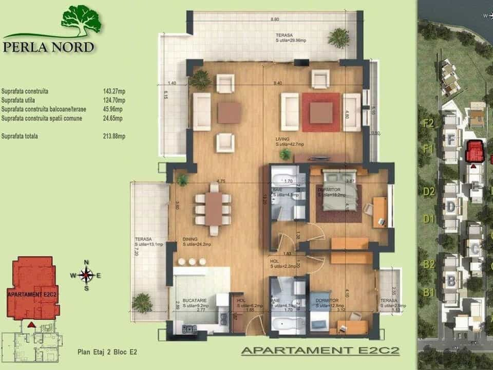 floor plan of Perla Residence apartment