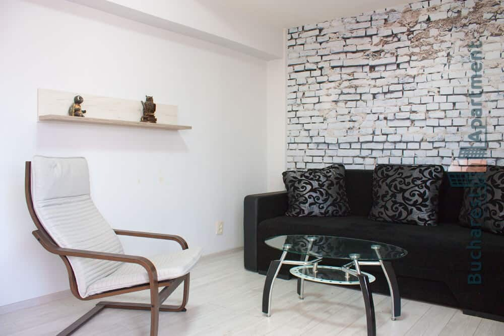 living room with decorative brick wall wallpaper