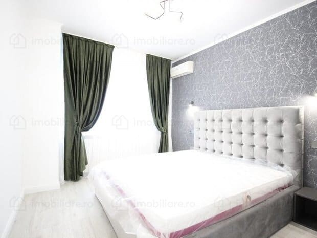 bedroom with grey wallpaper