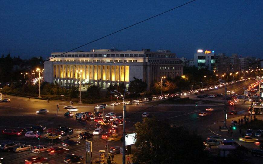 government building at Victoriei square at night