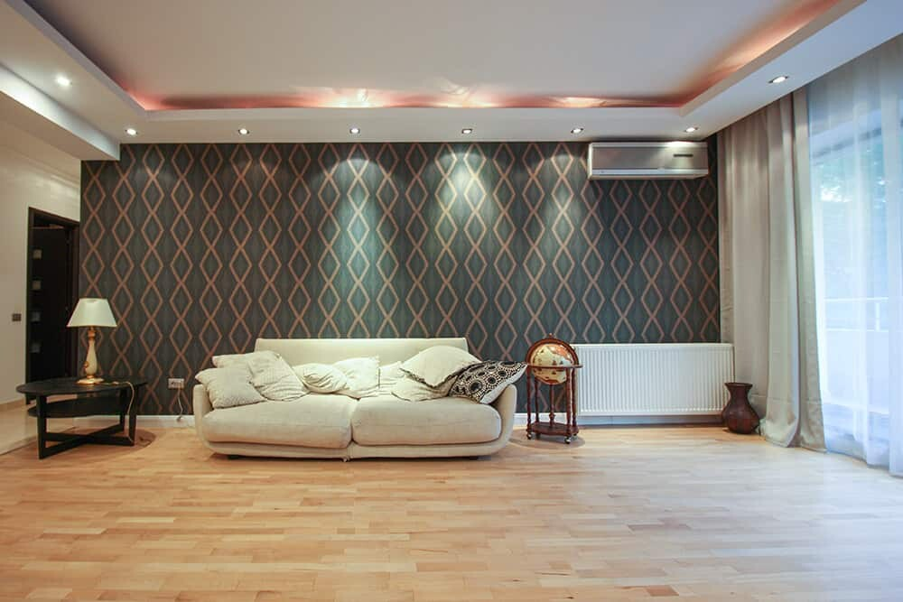 modern living room with wallpaper