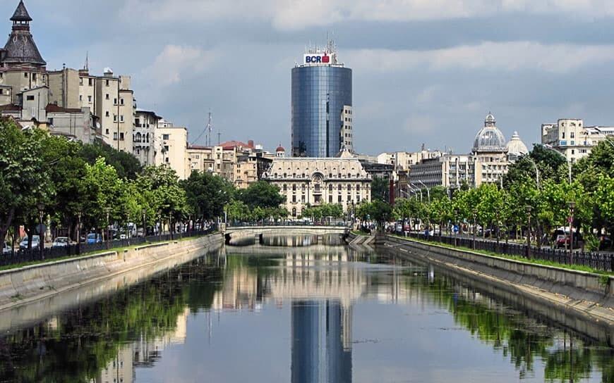 view to dambovita river in Bucharest
